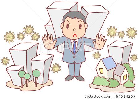 新的冠狀病毒對策與城市封鎖 64514257