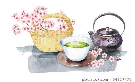 櫻花和日本茶 64517476