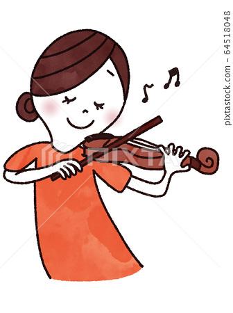 一個女人拉小提琴 64518048