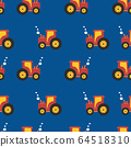 Tractor kids pattern. Seamless vector background tractors on blue.  64518310