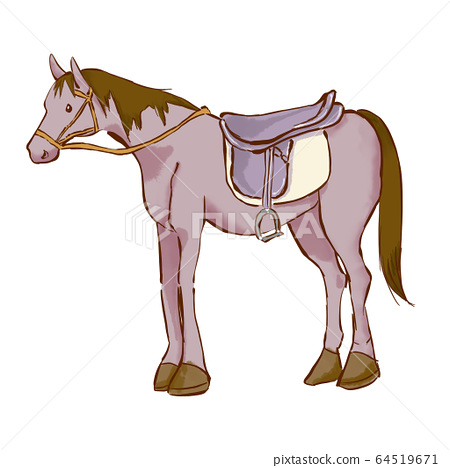 手繪插圖與鞍騎馬 64519671