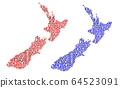 Map of New Zealand - vector illustration 64523091