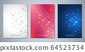 Vector template brochures or cover design, book, flyer, with molecules background and neural network. Abstract geometric background of connected lines and dots. Science and technology concept. 64523734