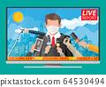TV news anchorman reads world news 64530494