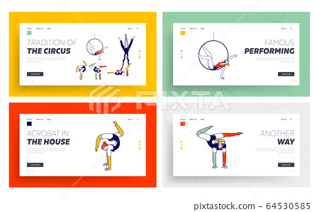 Acrobat Characters Performing Gymnastics Elements Landing Page Template Set. Girls and Man Gymnasts Wearing Costumes Dancing on Circus Stage or Sports Competition. Linear People Vector Illustration 64530585
