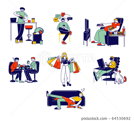 Set of People with Bad Habits Smoking, Alcohol Drinks, Gambling and Virtual Reality Games, Eating Fast Food and Drinking Coffee. Characters Addiction, Unhealthy Life. Linear Vector Illustration 64530692
