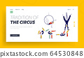 Gymnast Characters Performing Rhythmic Gymnastics Elements Landing Page Template. Girls and Man Wearing Costumes Dancing on Circus Stage or Sports Competition. Linear People Vector Illustration 64530848