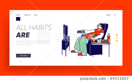Unhealthy Eating Bad Habit Landing Page Template. Fat Man Character Sit on Armchair with Fast Food Contain Carbohydrates and Oils, Fastfood Addiction Watch Tv, Obesity. Linear Vector Illustration 64531007