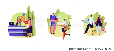 Set Male and Female Characters Use Eco Packing for Shopping. People Stand in Queue with Reusable Packaging in Hands Visiting Open Air Store. Happy of Purchases and Bought. Cartoon Vector Illustration 64531019