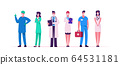 Hospital Healthcare Staff, Doctor Characters in Medical Masks and Robe during Covid19 Pandemic. Surgeon, Nurse in Uniform in Clinic. Medicine Profession, Occupation. Cartoon People Vector Illustration 64531181
