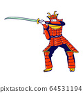 Samurai Character Wearing Traditional Japanese Ammo Stand with Katana Sword Prepare to Fight Isolated on White Background. Man Solder, Warrior or Actor in Action, Museum. Linear Vector Illustration 64531194