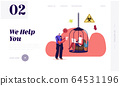 Home Isolation during Bio Hazard Epidemic Spreading Landing Page Template. Policeman Character Writing Fine to Man Sitting inCage Work on Laptop, Quarantine Control. Cartoon People Vector Illustration 64531196