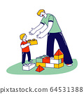 Young Man and Little Boy with Autism Syndrome Building Tower of Constructor Blocks. Father with Son or Teacher with Student Characters Spend Time Together with Fun. Linear People Vector Illustration 64531388