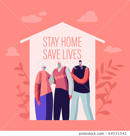 Stay at Home, Self Isolation Save Lives Concept. Male and Female Senior and Young Characters Wearing Medical Masks Stand under House Roof. Family on Quarantine. Cartoon People Vector Illustration 64531541