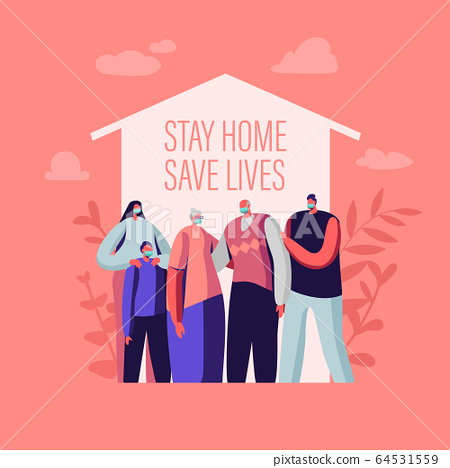 Stay at Home, Self Isolation Concept. Male and Female Characters Wearing Medical Masks Stand under House Roof. Family of Parents, Grandparents and Kids Quarantine. Cartoon People Vector Illustration 64531559