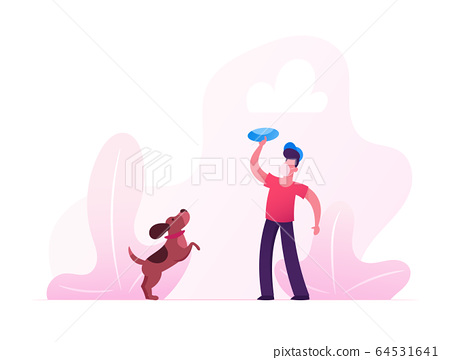 Quarantine Violation. Boy in Medical Mask Walking with Dog Outdoors. Male Character Playing with Pet Spending Time at Park in Covid19 Pandemic. Leisure with Home Animal. Cartoon Vector Illustration 64531641