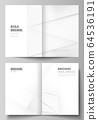 Vector layout of two A4 cover mockups design templates for bifold brochure, flyer, cover design, book design, brochure cover. Halftone effect decoration with dots. Dotted pop art pattern decoration. 64536191