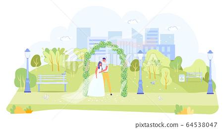 Outdoor Wedding Ceremony in Garden or Green Park 64538047