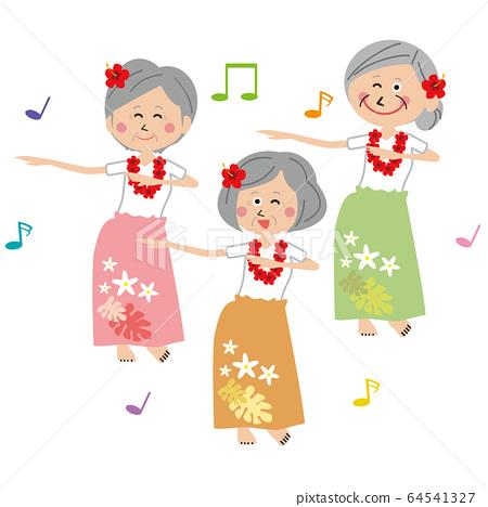 流行活躍的高級婦女跳舞草裙舞 64541327