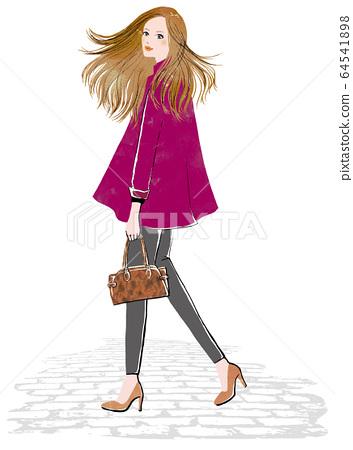 一個女人,頭髮轉過身,隨風飄揚 64541898