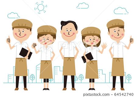 一家流行咖啡館店員或麵包店裡的男人和女人排隊並擺在戶外 64542740