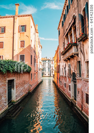 European old buildings with canal in Venice, Italy 64542886