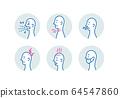 疾病症状简单图图标集打喷嚏,喉咙痛,流鼻涕,头痛,发烧,医用口罩 64547860