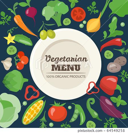 Vegetarian menu cover design with different vegetables 64549258