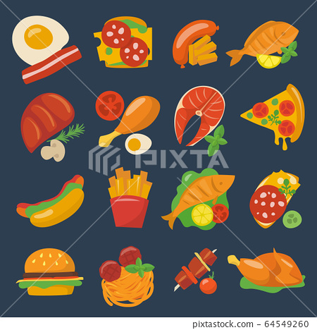 Vector food icons set meat and fish dishes 64549260