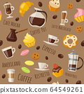 Coffe style seamless pattern with drinks and sweets and lettering. 64549261