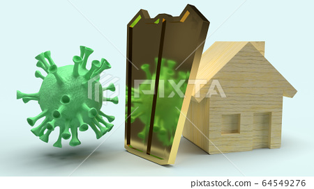 The home  wooden  and gold shield  for protection virus 3d rendering. 64549276