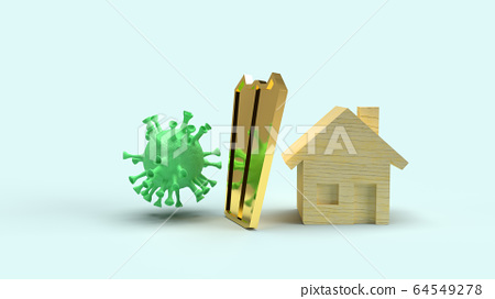 The home  wooden  and gold shield  for protection virus 3d rendering. 64549278