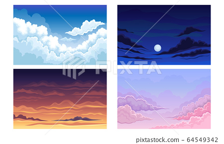 Sky with Clouds Scudding Across It and Staying Still Vector Scene Set 64549342
