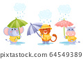 Smiley Animals Wearing Coat Walking in Rainy Day with Umbrella Vector Set 64549389