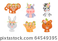 Cartoon Animals with Flowers on Their Heads Vector Set 64549395