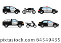 Police Vehicles with Patrol Car and Motorcycle Vector Set 64549435