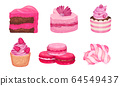 Pink Desserts with Candy on Stick and Layered Cakes Vector Set 64549437