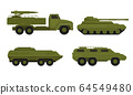 Armored Military Vehicles with Heavy Tank System Vector Set 64549480