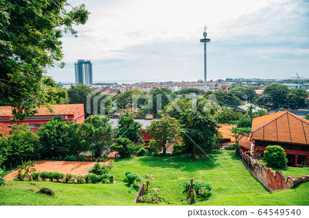 Malacca unesco village view from St Paul's Church in Malaysia 64549540
