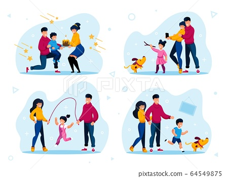 Family Relationships Happy Moments Flat Vector Set 64549875