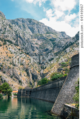 Old fortress and mountain in Kotor, Montenegro 64549987