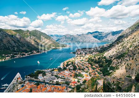 Bay of Kotor town panorama view in Montenegro 64550014