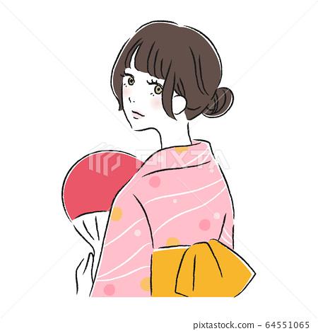여름 축제 유카타 여성 64551065