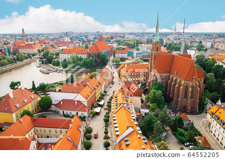 Ostrow Tumski Cathedral island old town panorama view in Wroclaw, Poland 64552205