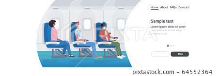 airplane pessengers wearing medical face masks to prevent coronavirus covid-19 pandemic prevention 64552364
