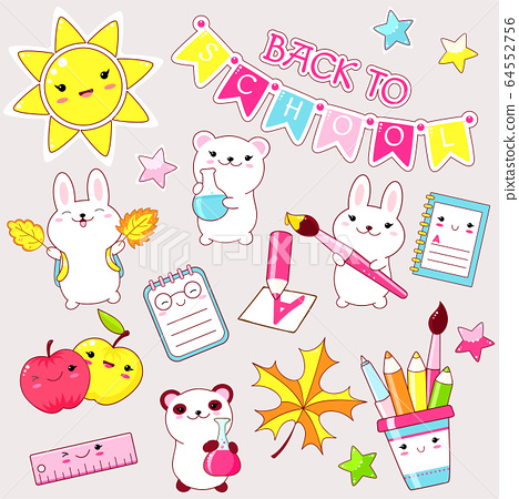 Vector set of education icons in kawaii style 64552756