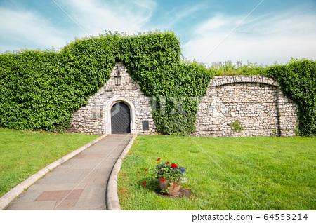 Wawel castle garden in Krakow, Poland 64553214