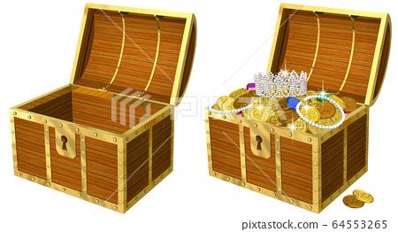 열면 금화 넘치는 보물 상자의 리얼 일러스트 64553265