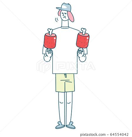 一個年輕人用兩隻手拿著漫畫肉 64554042