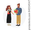 Cute couple, man gifting flowers. Romantic date. 64554547
